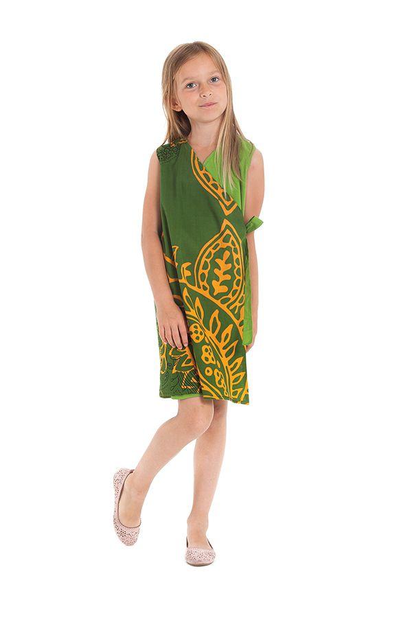 Robe portefeuille d'été Verte pour Fille Ethnique Nanny 280405