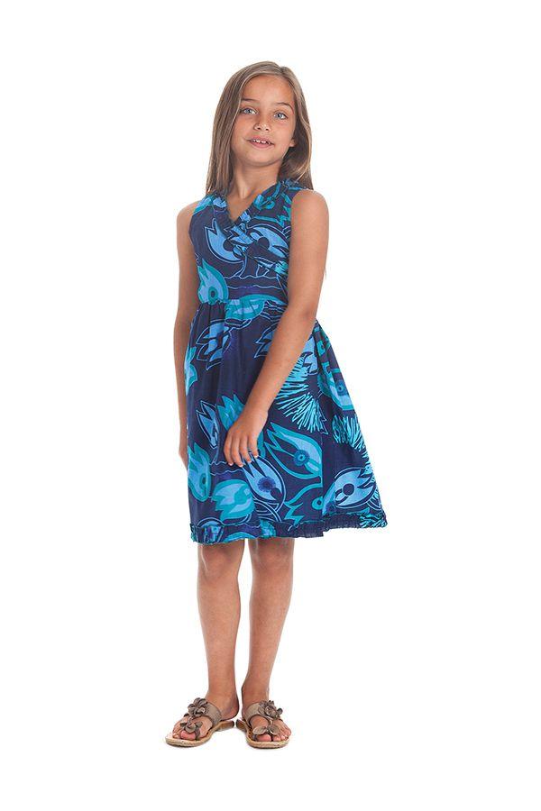 Robe Portefeuille pour Enfant Colorée et Imprimée Larry Bleue 280393