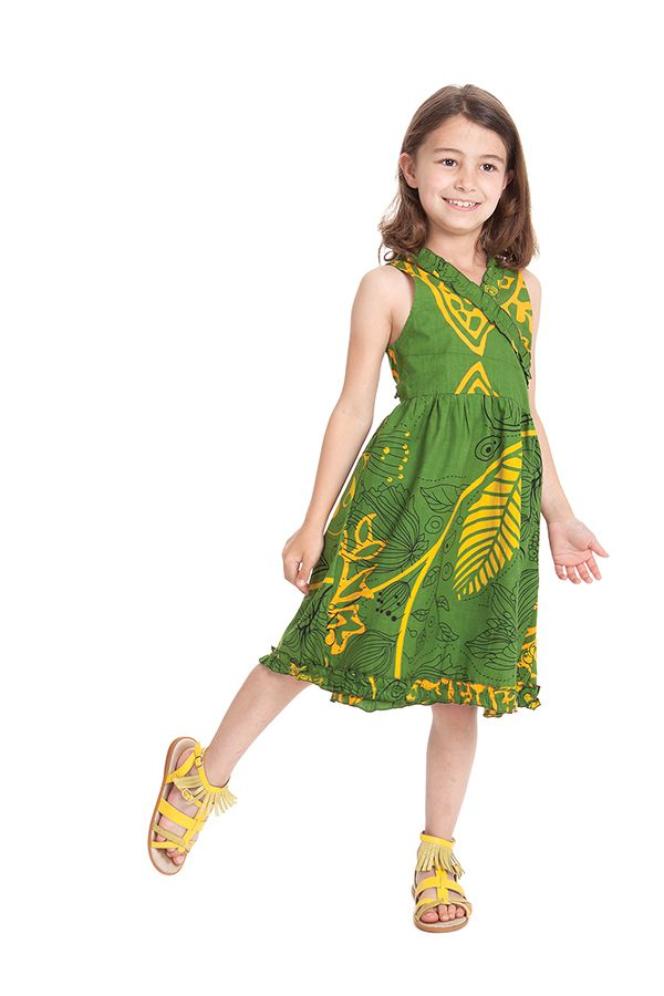 Robe Portefeuille pour Enfant Verte Colorée et Imprimée Larry 280392