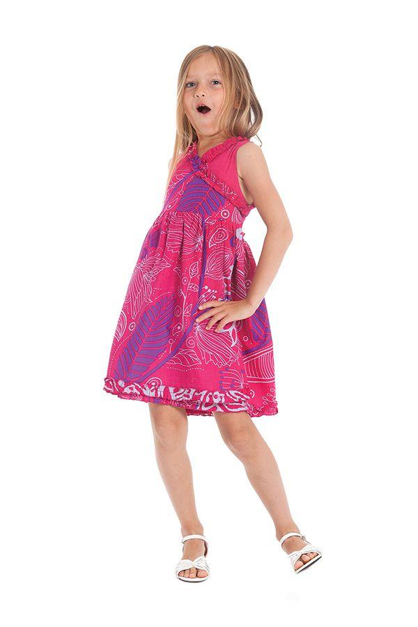 Robe Portefeuille Rose pour Enfant Imprimée et Colorée Larry 280247