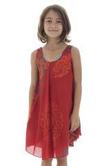 Robe pour enfant à fleurs Mandalas sur fond rouge Marie-Sophia 295806