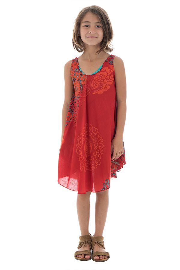Robe pour enfant à fleurs Mandalas sur fond rouge Marie-Sophia 295807