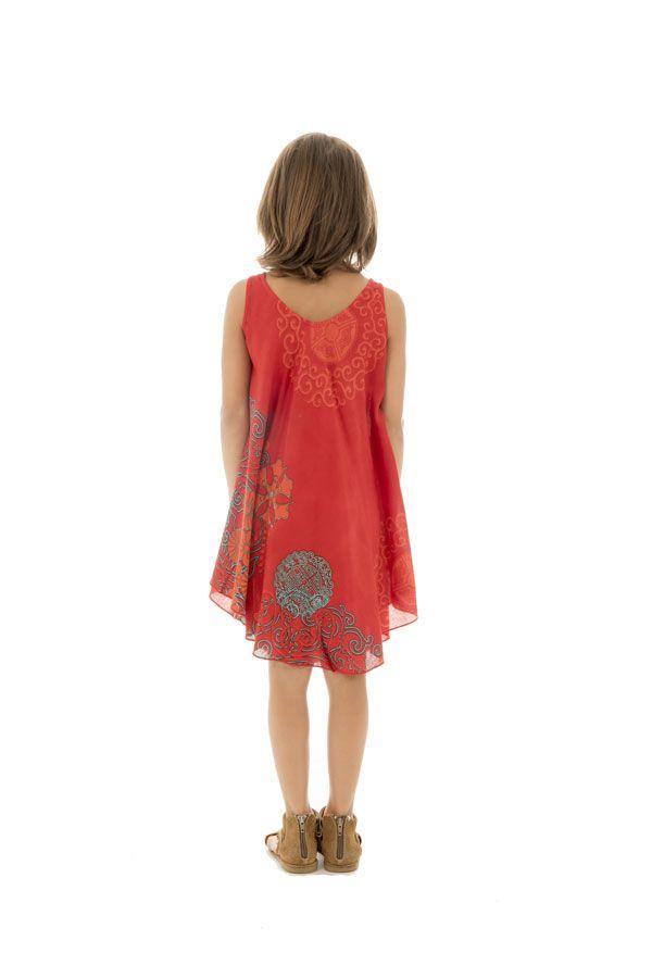 Robe pour enfant à fleurs Mandalas sur fond rouge Marie-Sophia 295808