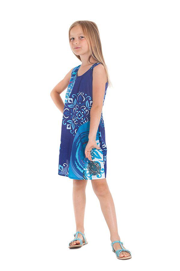 Robe pour Enfant à larges bretelles très Colorée Roxy Bleue 280179