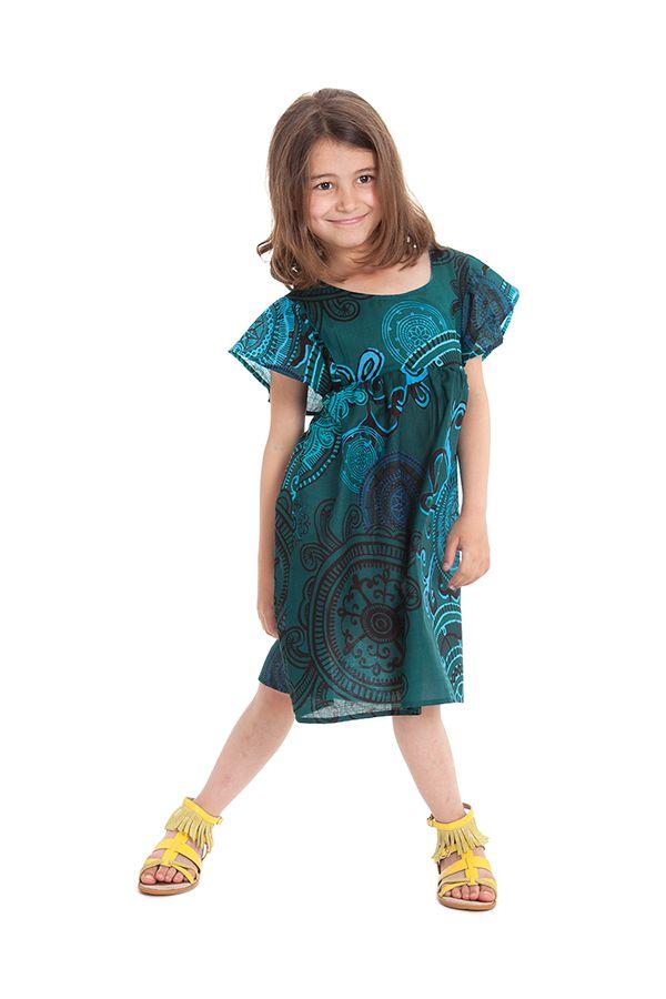Robe pour Enfant à manches courtes Colorée et Agréable Iga Verte 279836