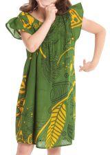Robe pour Enfant à manches courtes Ethnique et Originale Libby Verte 279837