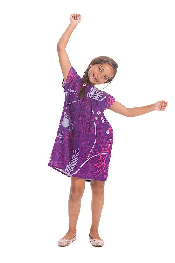Robe pour Enfant à manches courtes Ethnique et Originale Libby Violette 279844
