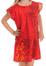 Robe pour Enfant à manches courtes Rouge Ethnique et Originale Libby 279845