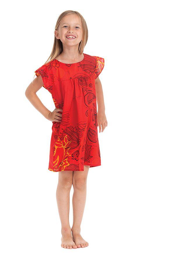 Robe pour Enfant à manches courtes Rouge Ethnique et Originale Libby 279846