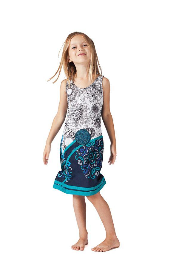 Robe pour Enfant Blanche et Bleue Ethnique et Originale Donald 280612