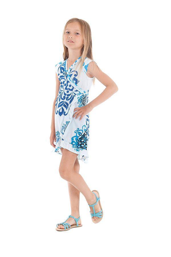 Robe pour Enfant Blanche et Bleue Sarabi Colorée et Portefeuille 280194