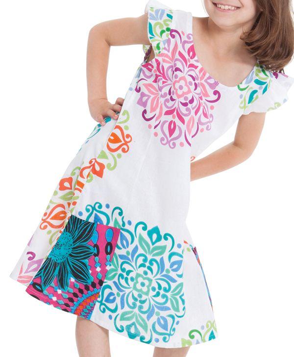 Robe pour Enfant Blanche et Multi Originale et Pas Chère Rajah 280568