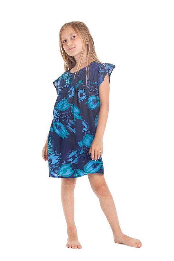 Robe pour Enfant Bleue à manches courtes Ethnique et Originale Libby 279840