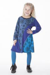 Robe pour enfant bleue avec des rosaces brodées 286379