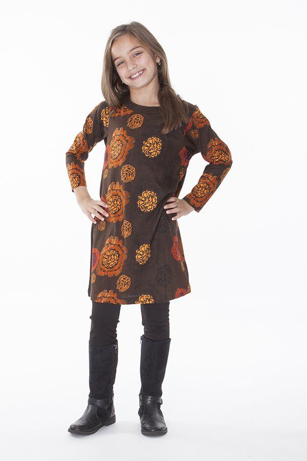 Robe pour enfant marron à manches longues 287319