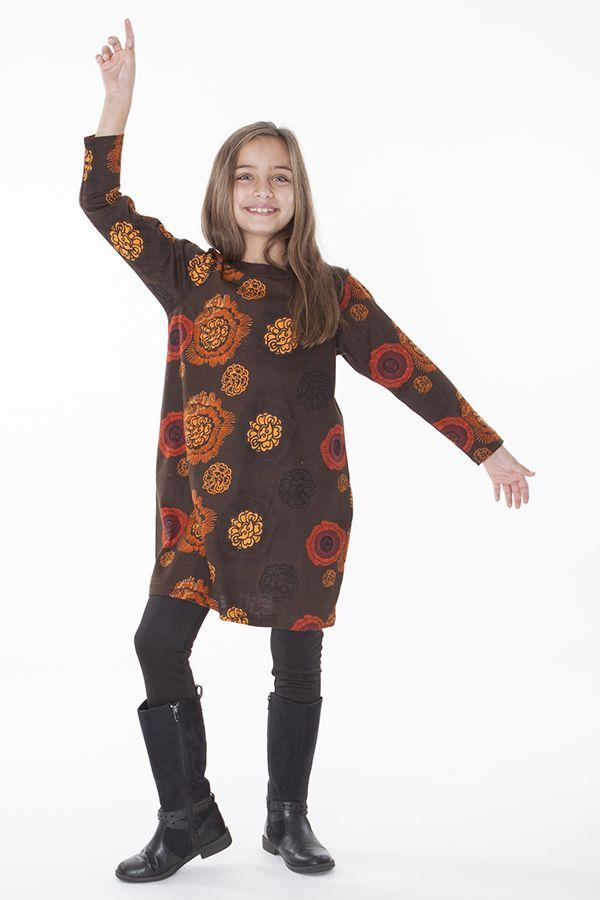 Robe pour enfant marron à manches longues 287320