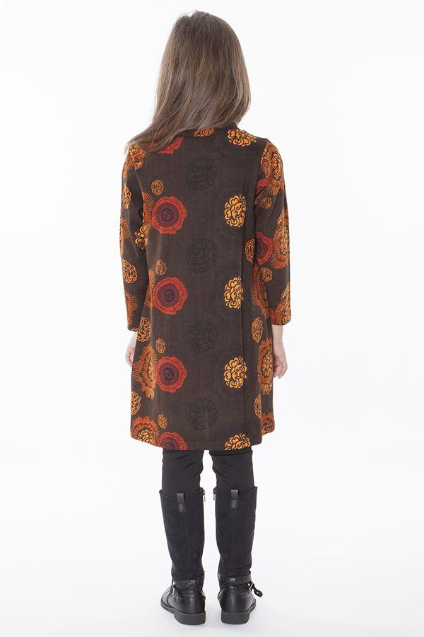 Robe pour enfant marron à manches longues 287321