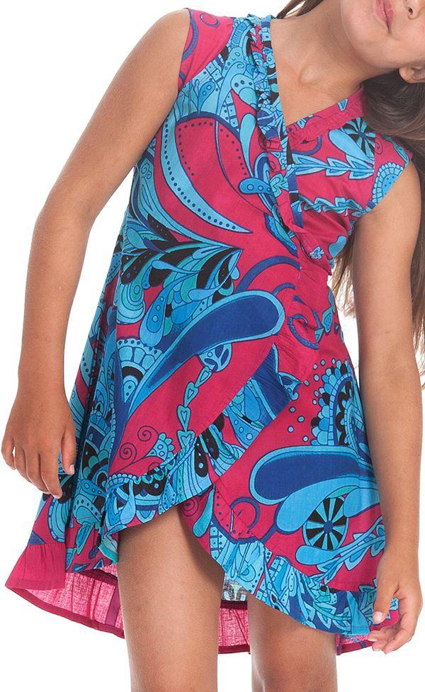 Robe pour Enfant Sarabi Colorée et Portefeuille Rose et Bleue 280195