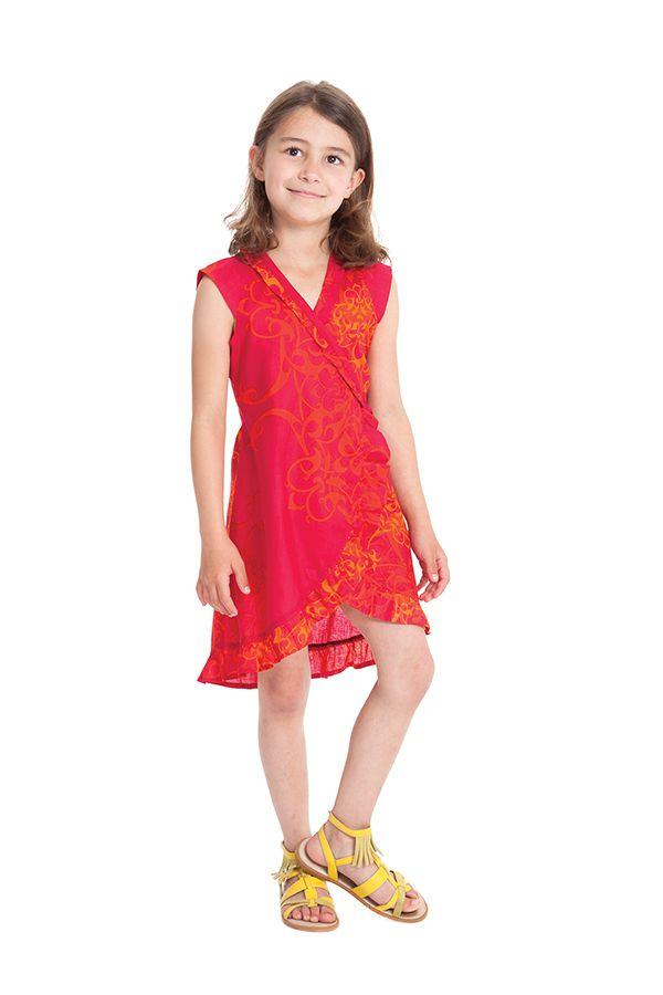 Robe pour Enfant Sarabi Rouge Colorée et Portefeuille 280198