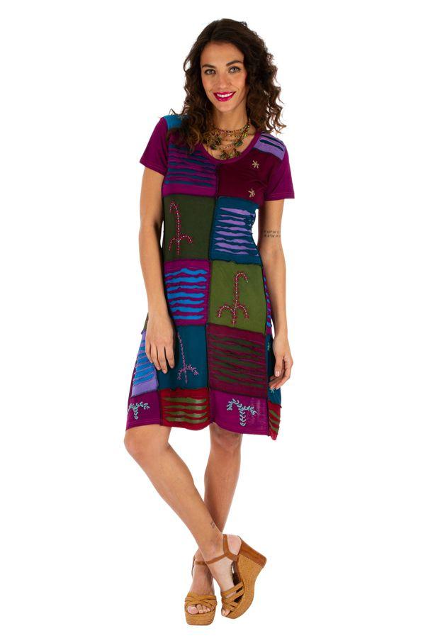 Robe pour femme à manches courtes fun et colorée Jimma rose 314218