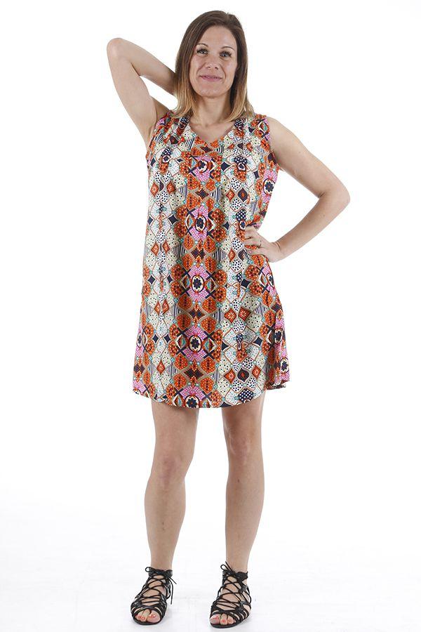 Robe pour femme d'été au col en V imprimée bohème Natalia 310429