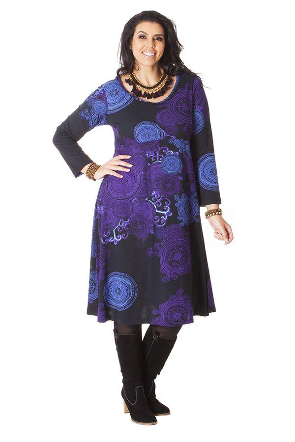 Robe pour femme pulpeuse Ethnique et Colorée Ambraza Noire 286259