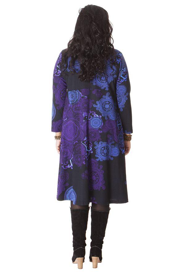 Robe pour femme pulpeuse Ethnique et Colorée Ambraza Noire 286260