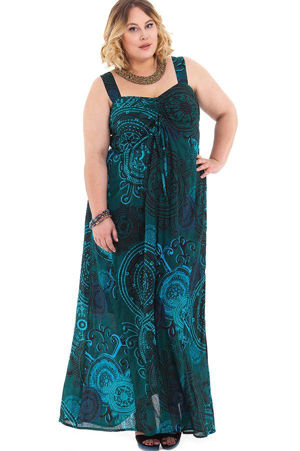 Robe pour femme pulpeuse ethnique et originale sensi verte - Femme pulpeuse image ...