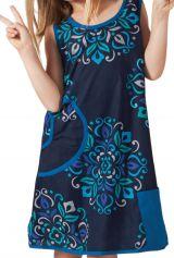 Robe pour Fille Bleue sans manches Originale et Colorée Scamp 280215