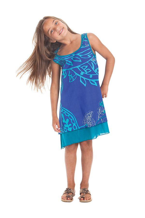 Robe pour Fille Bleue sans manches Originale et Ethnique Kopa 280127