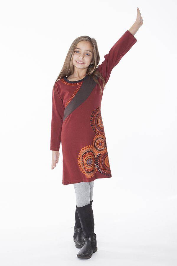 Robe pour fille de couleur bordeaux à manches longues 286360