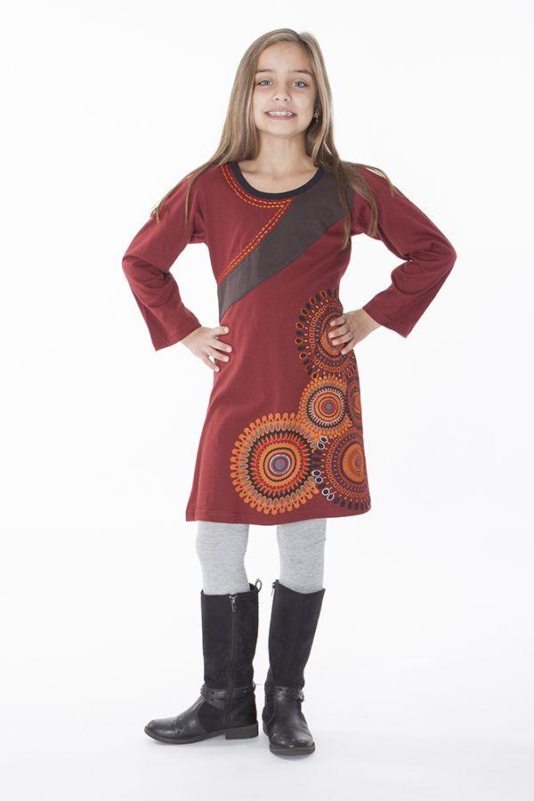 Robe pour fille de couleur bordeaux à manches longues 286361