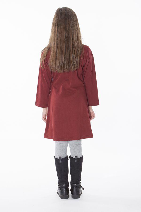 Robe pour fille de couleur bordeaux à manches longues 286362