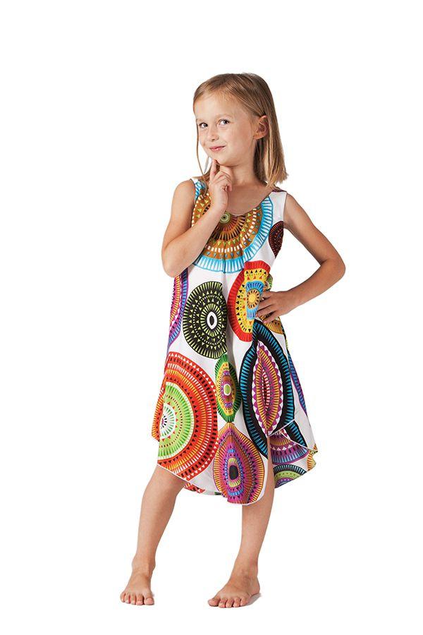 Populaire robe-pour-fille-de-plage-et-coloree-penny-blanche-a-mandalas BS36