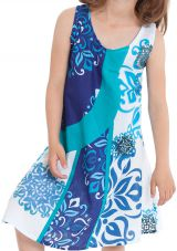 Robe pour Fille Ethnique et Originale Blanche et Bleue Rafiki 280560