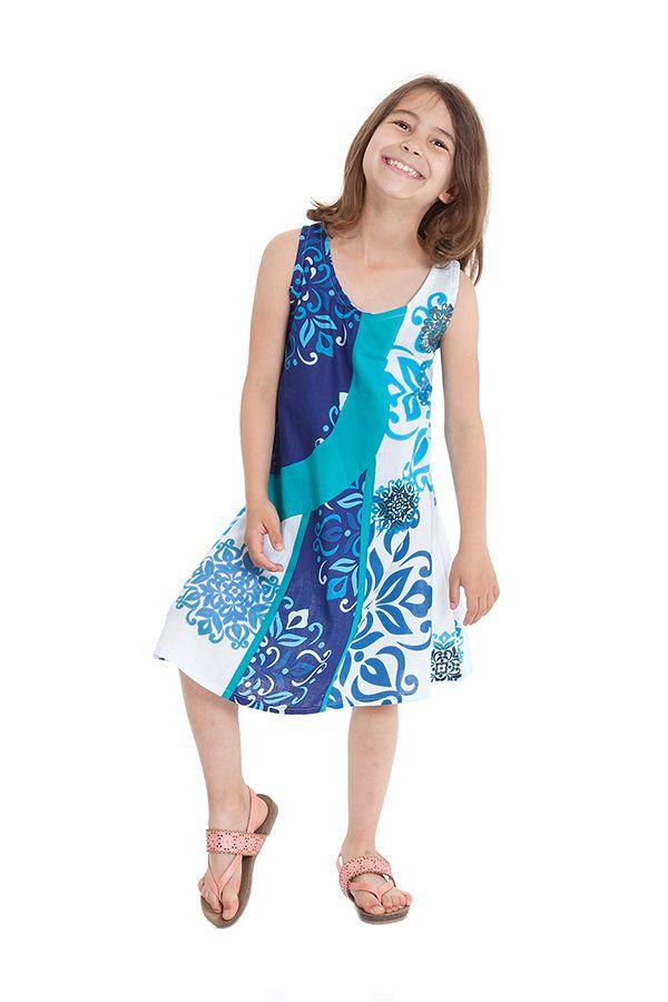 Robe pour Fille Ethnique et Originale Blanche et Bleue Rafiki 280563