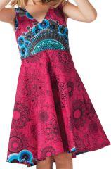 Robe pour Fille Fuchsia Ethnique et coupe Patineuse Scudy 280592