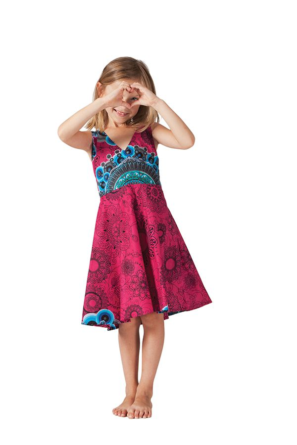 Robe pour Fille Fuchsia Ethnique et coupe Patineuse Scudy 280593