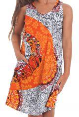 Robe pour Fille sans manches Imprimée et Colorée Pongo Blanche 280530