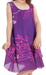 Robe pour Fille sans manches Originale et Ethnique Kopa Violette 280128