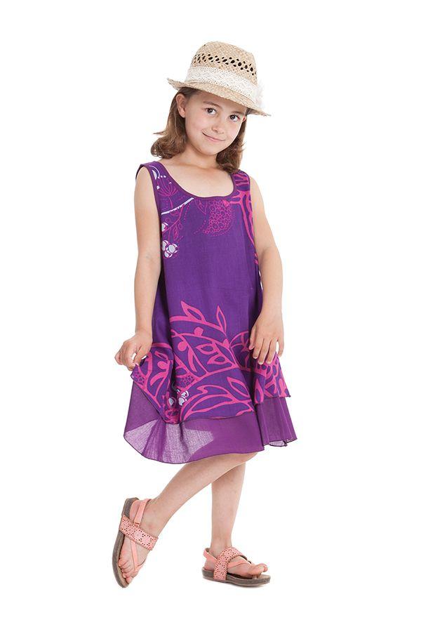 Robe pour Fille sans manches Originale et Ethnique Kopa Violette 280129