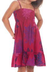 Robe pour fillette à fines bretelles et à volant Ethnique Mufasa Rose 279849