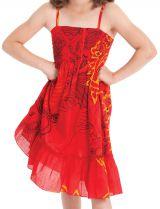 Robe pour fillette Ethnique à volant et fines bretelles Rouge 279857