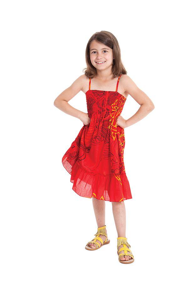 Robe pour fillette Ethnique à volant et fines bretelles Rouge 279858