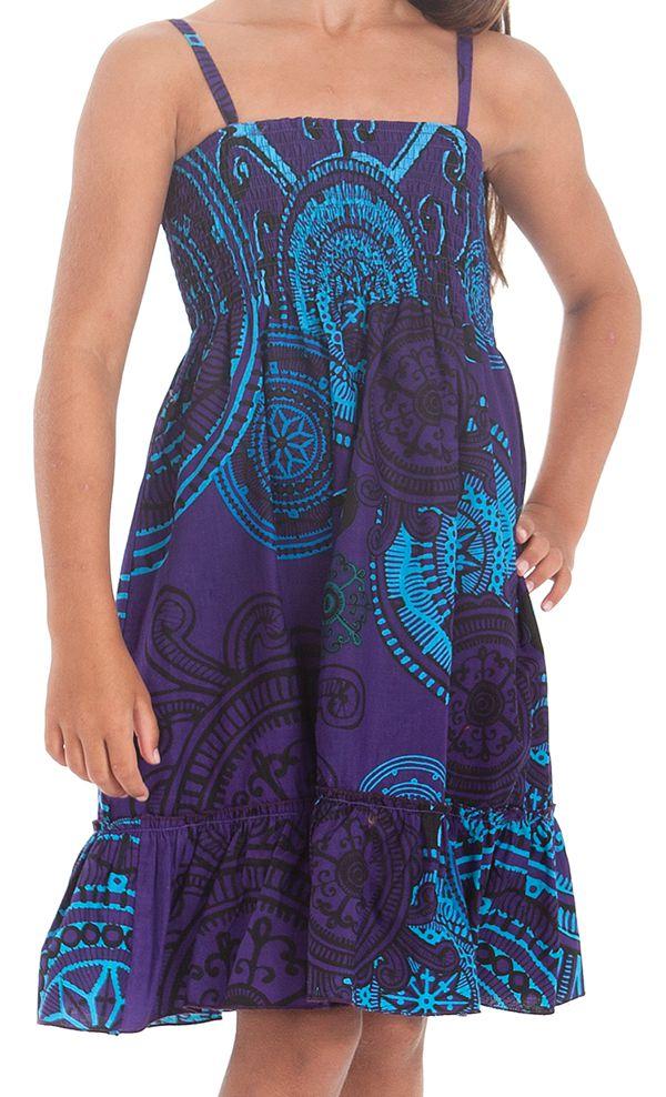 Robe pour fillette Indigo à fines bretelles et à volant Ethnique Mufasa 279853
