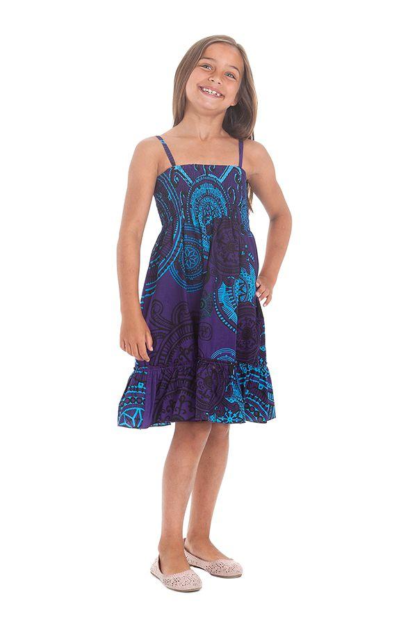 Robe pour fillette Indigo à fines bretelles et à volant Ethnique Mufasa 279854