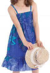 Robe pour fillette Indigo à volant et à fines bretelles Ethnique Mufasa Bleue 279855