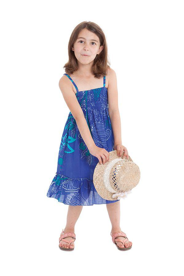 Robe pour fillette Indigo à volant et à fines bretelles Ethnique Mufasa Bleue 279856