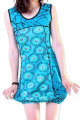 Robe pour l'été courte pour l'été Originale et Imprimée Dounnia Bleue 276913