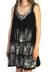 Robe pour l'été sans manches Imprimée et Ethnique Noire Manali 291593